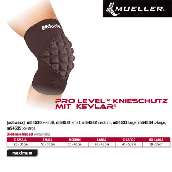MUELLER Pro Level Knieschutz mit Kevlar in schwarz