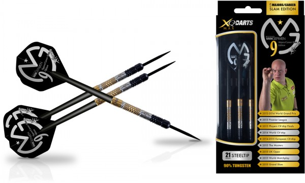 XQ Max Michael van Gerwen 9 Majors/Career Slam Edition 90% Tungsten Steel Darts