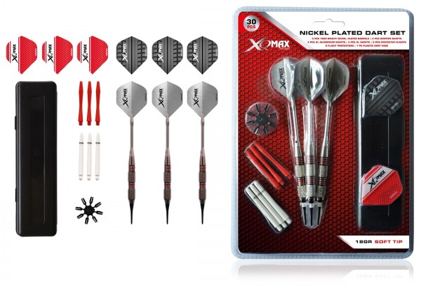 XQ-Max chromed Brass Soft Dartset | 18 Gr.