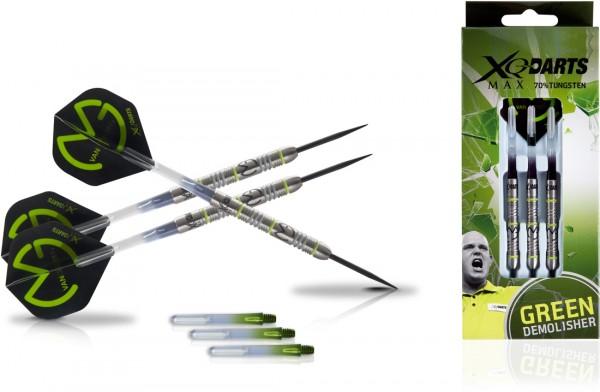 """XQMAX Michael van Gerwen """"Green Demolisher"""" 70% Steel Darts"""