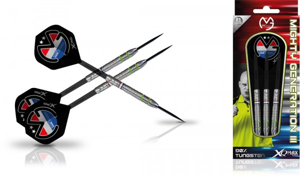 "XQMAX Michael van Gerwen ""Mighty Generation III"" 90% Steel Darts"