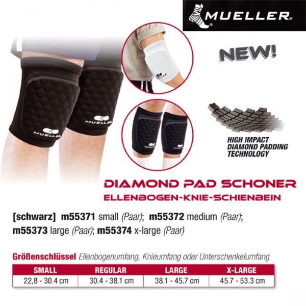 MUELLER Diamond Pad Schoner Ellenbogen-Knie-Schienbein paarweise in Schwarz