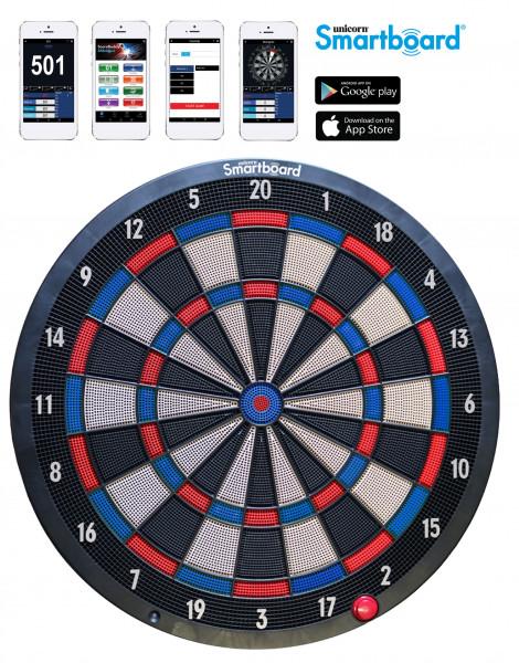 Unicorn Smartboard Soft Tip, Bluetooth Dartboard, App kompatible elektronische Dartscheibe